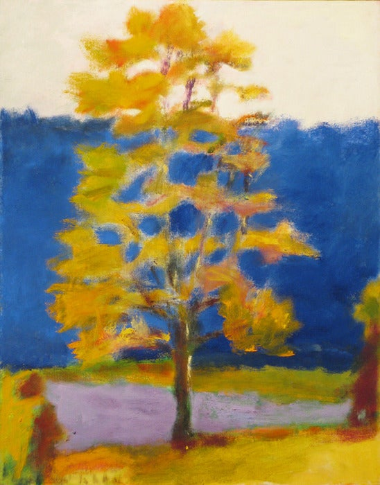 Wolf Kahn Single Tree Against Blue Painting For Sale