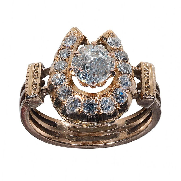 An Antique Diamond Gold Horseshoe Ring At 1stdibs