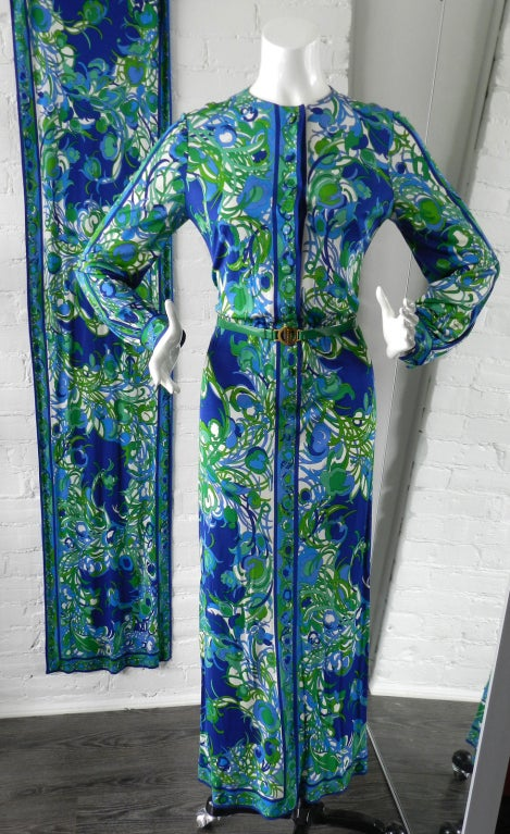 Emilio Pucci 1970s Vintage Blue Dress And Scarf At 1stdibs