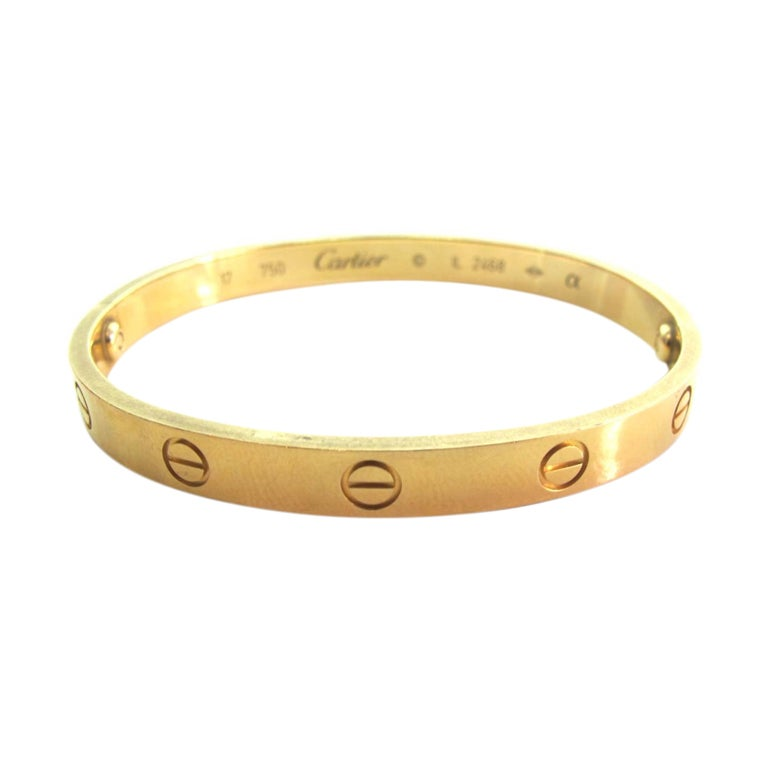 CARTIER 18K Yellow Gold Love Bracelet RT 4500 At 1stdibs