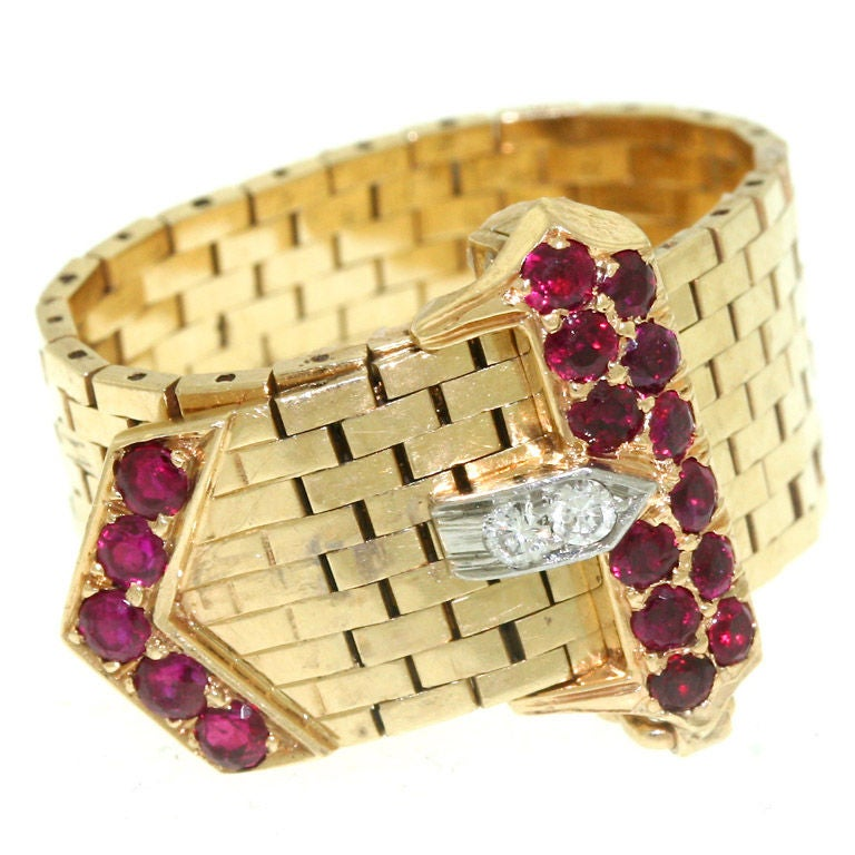 CARTIER Ruby And Diamond Buckle Ring At 1stdibs