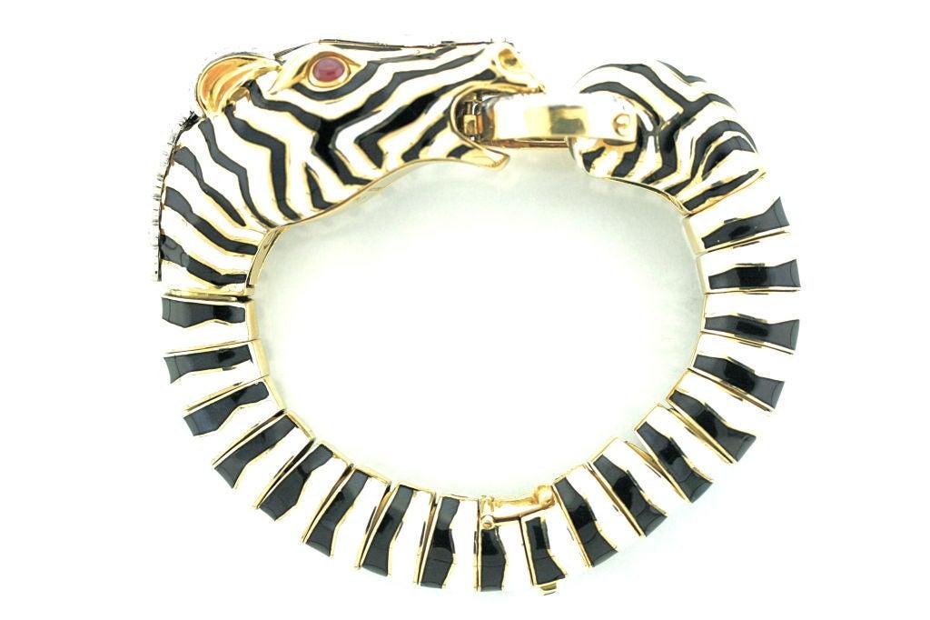 DAVID WEBB Diamond And Enamel Zebra Bracelet At 1stdibs