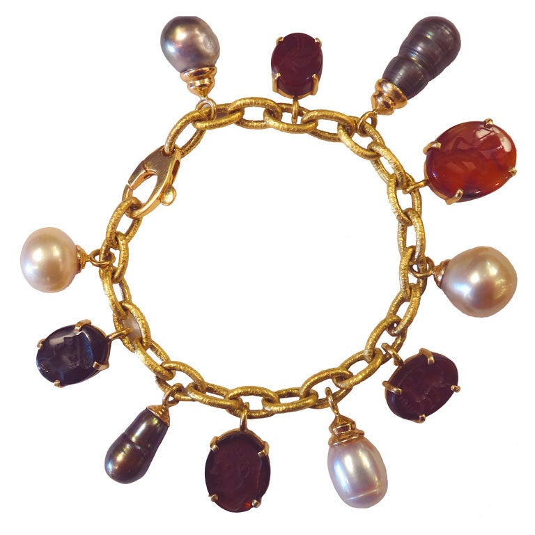 Ancient Hardstone Roman Intaglio Pearl Charm Bracelet At