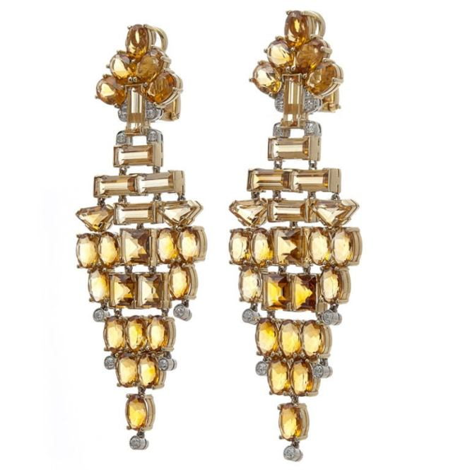 The Penultimate Citrine Chandelier Earrings Extremely Fine Diamond Articulated Dangle