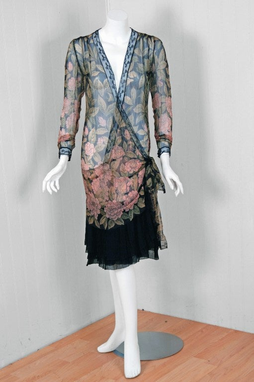 1920s Pink Camellias Floral Print Chiffon Wrap Dress And