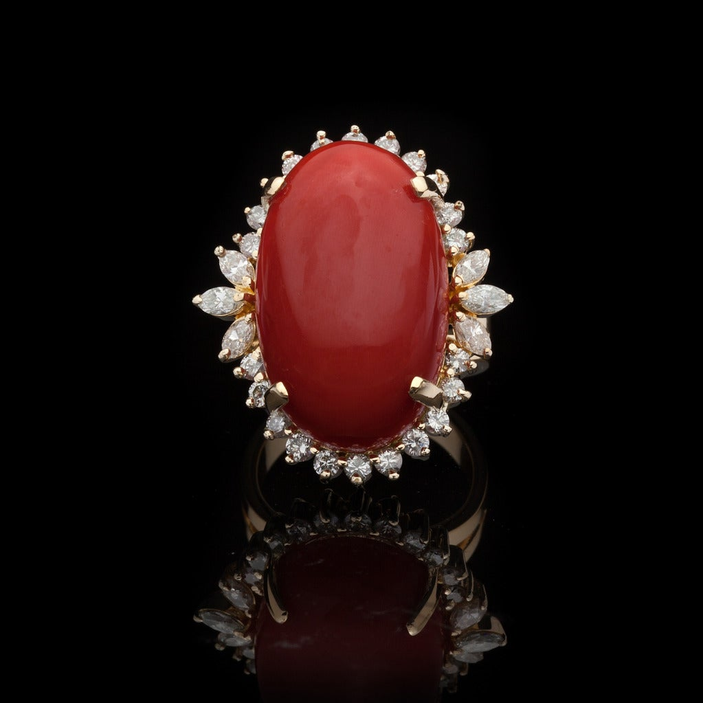 Coral Diamond Cocktail Ring At 1stdibs