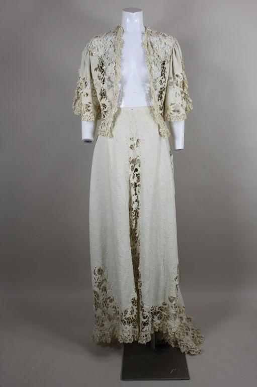 Edwardian Cotton Battenburg Lace And Linen Walking Suit