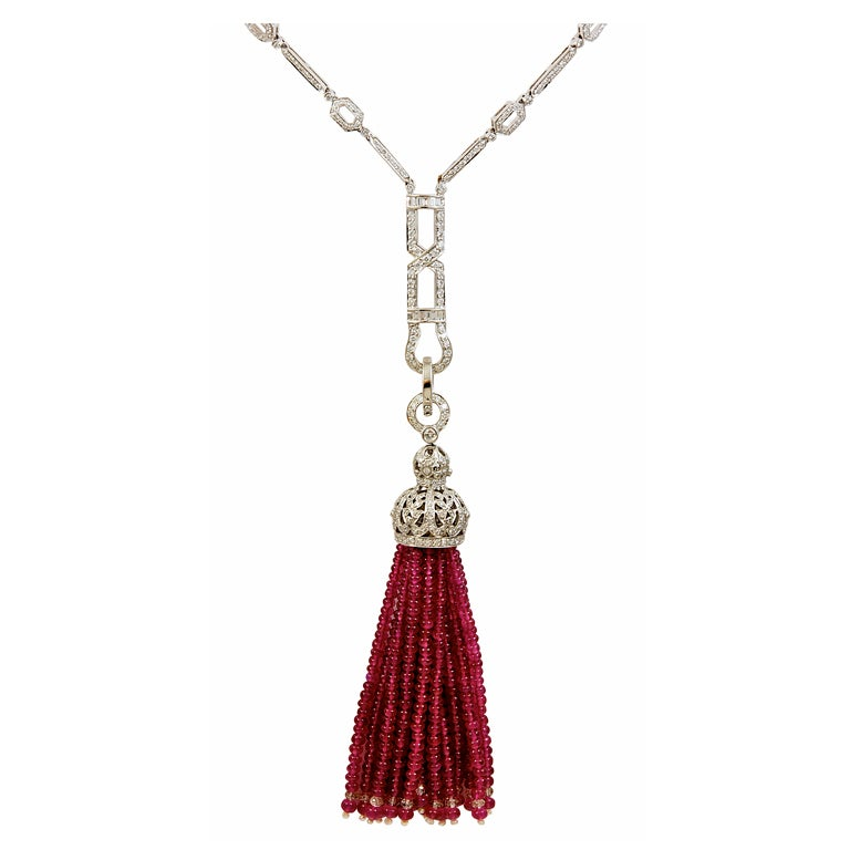 Ruby Diamond Tassel Necklace With Removable Ruby Tassel At