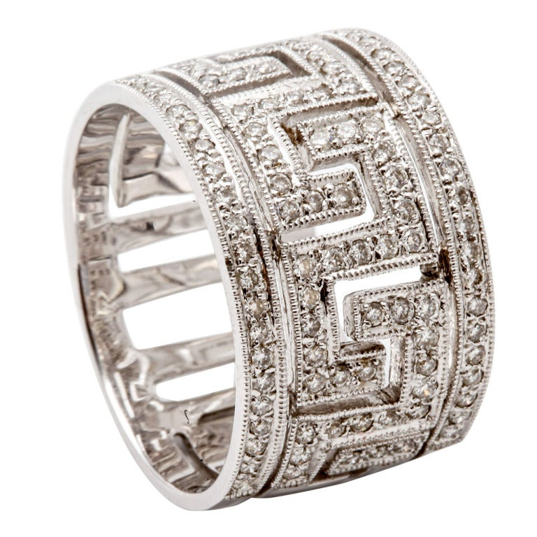 Diamond Greek Key Pattern Ring At 1stdibs