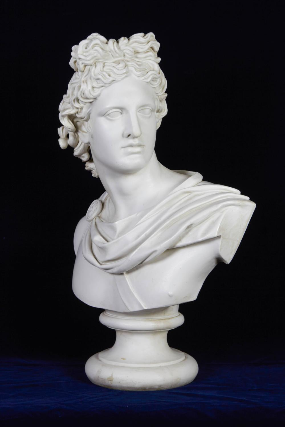 Large Antique Porcelain Bust Of Apollo Of Belvedere
