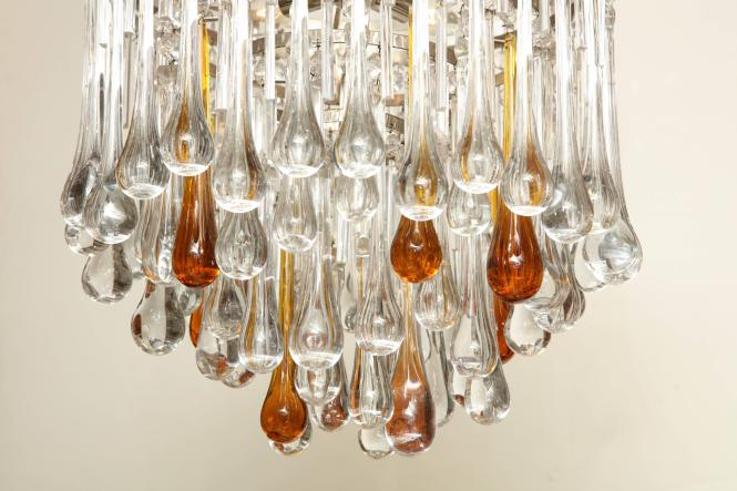 A Round Murano Glass Chandelier With Clear And Amber Colored Crystal Tear Drops Recently Rewired