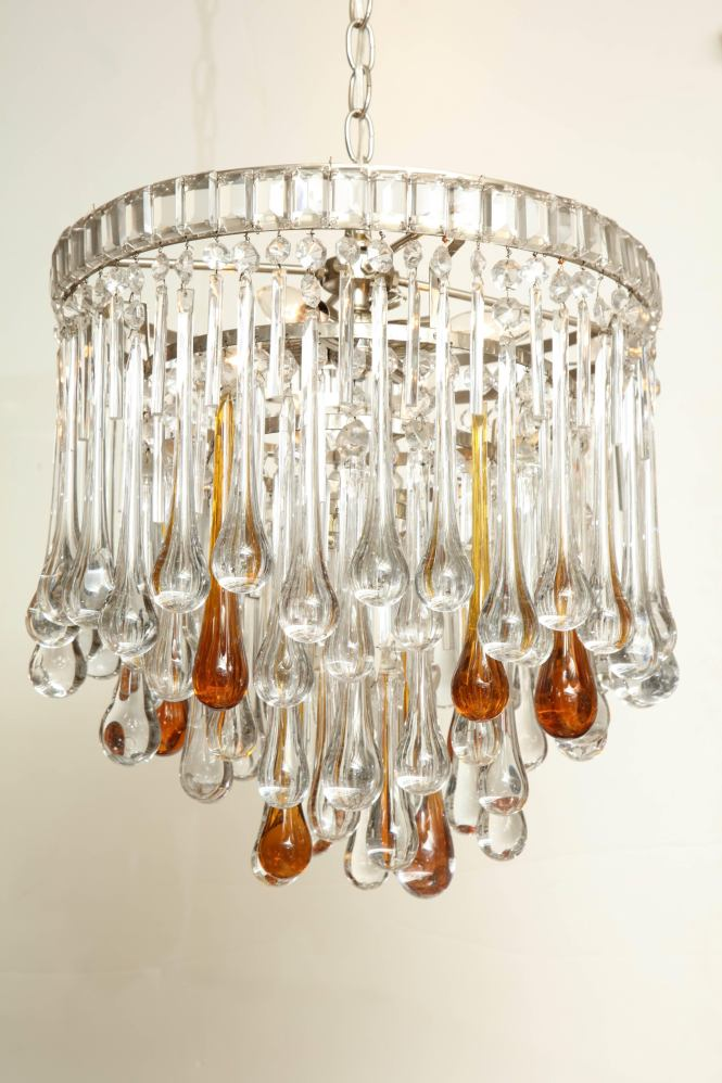 Mid Century Modern Murano Glass Chandelier With Clear And Amber Crystal Tear Drops Italy