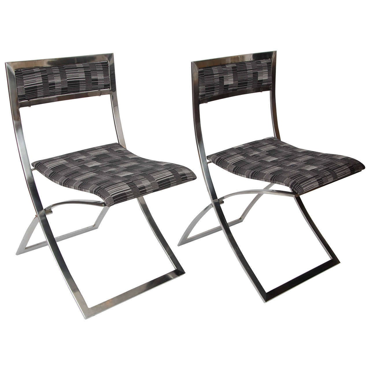 Set Of Eight Stainless Steel Folding Dining Chairs Luisa