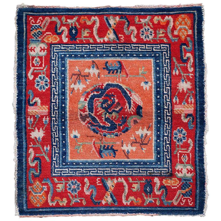 Old Antique Tibetan Rug Saddle Top With Dragon Design At