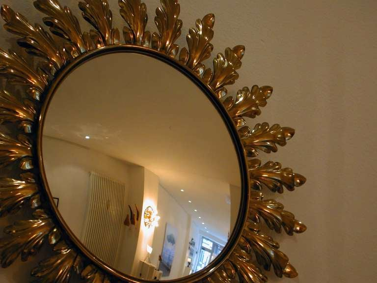 Mid-Century 1950s French Sunburst Starburst Gilt Convex