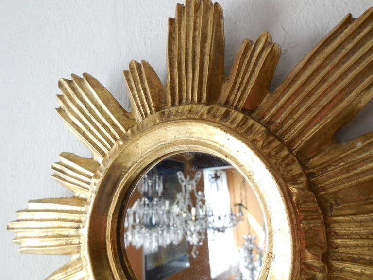 French Gold Gilt Wooden Sunburst Mirror At 1stdibs