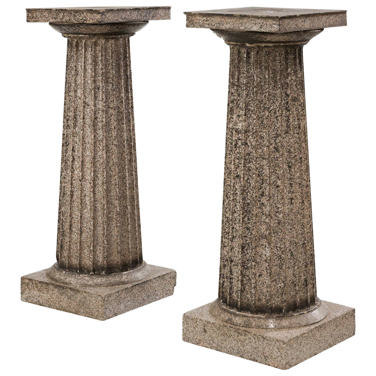 Monumental Pair Of Cast Iron Garden Urns On Pedestals At