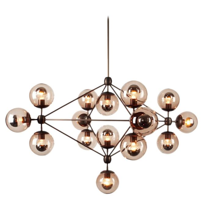 Jason Miller Modo Chandelier 4 Sided 15 Globes Bronze Smoke Glass Lighting For