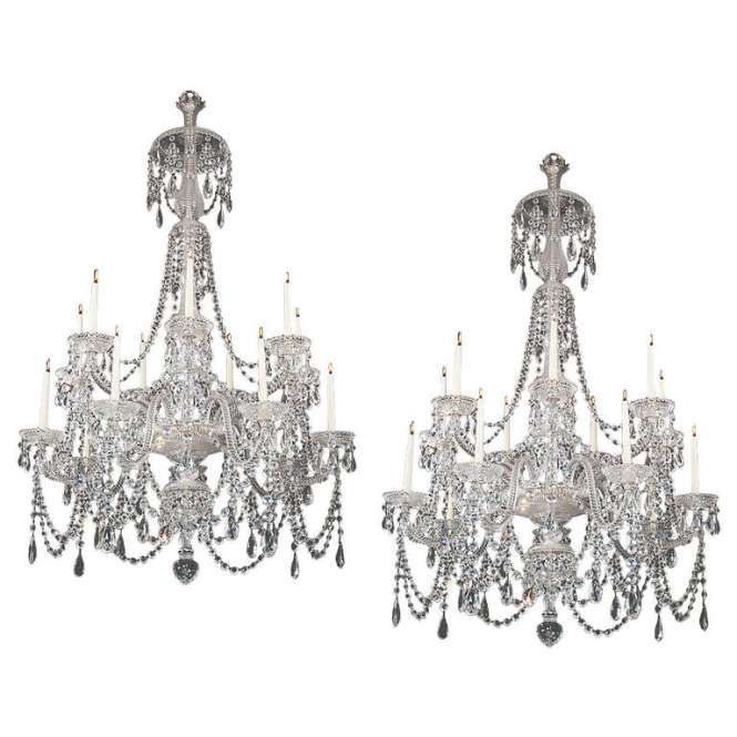 Fine Pair Of Four Light Cut Glass Chandeliers By Perry Co