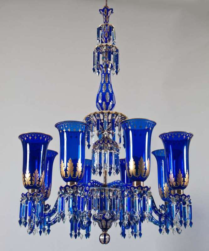 Important Blue Glass Chandelier And Pair Of Matching Wall Lights By F C Osler 3