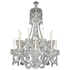 Victorian Six Light Cut Glass Antique Chandelier By Perry Co