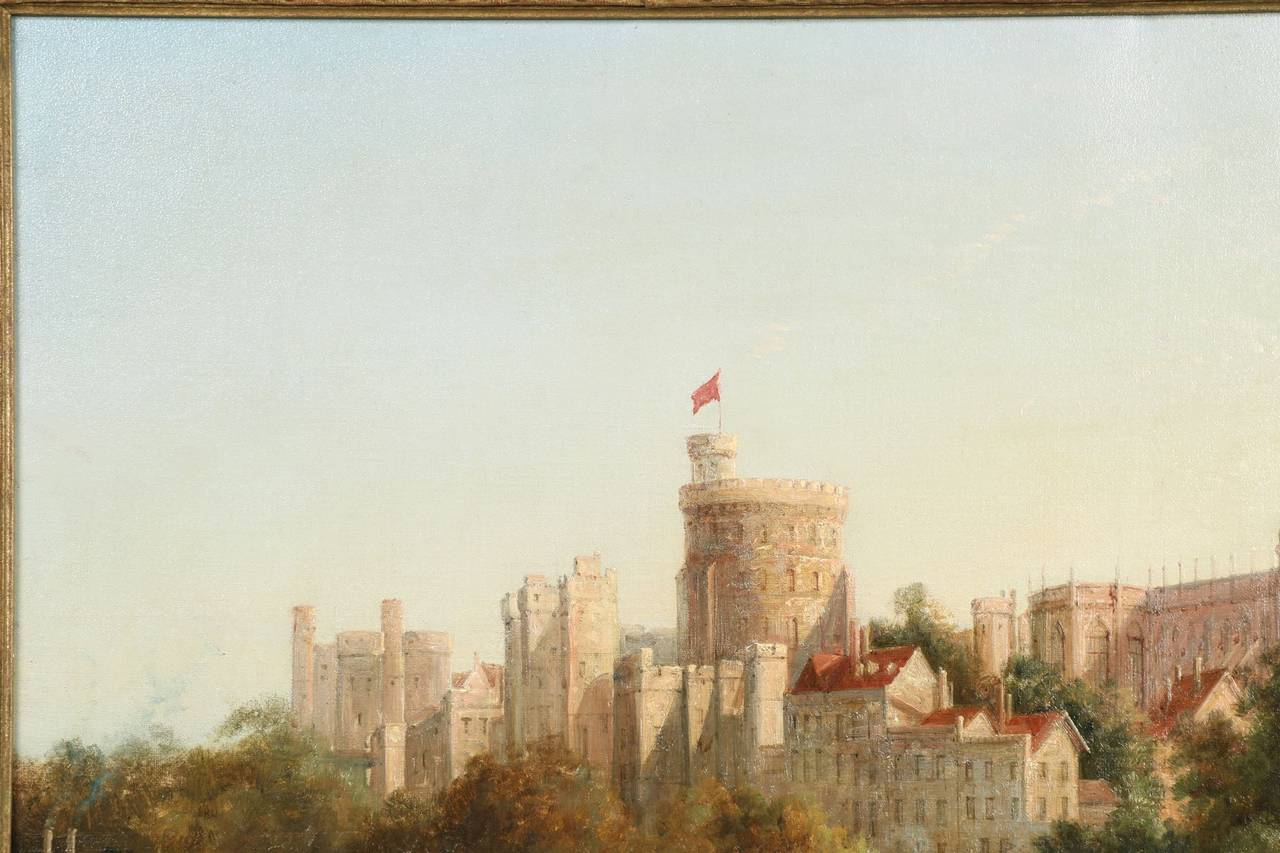 English Antique Landscape Painting Of Windsor Castle From