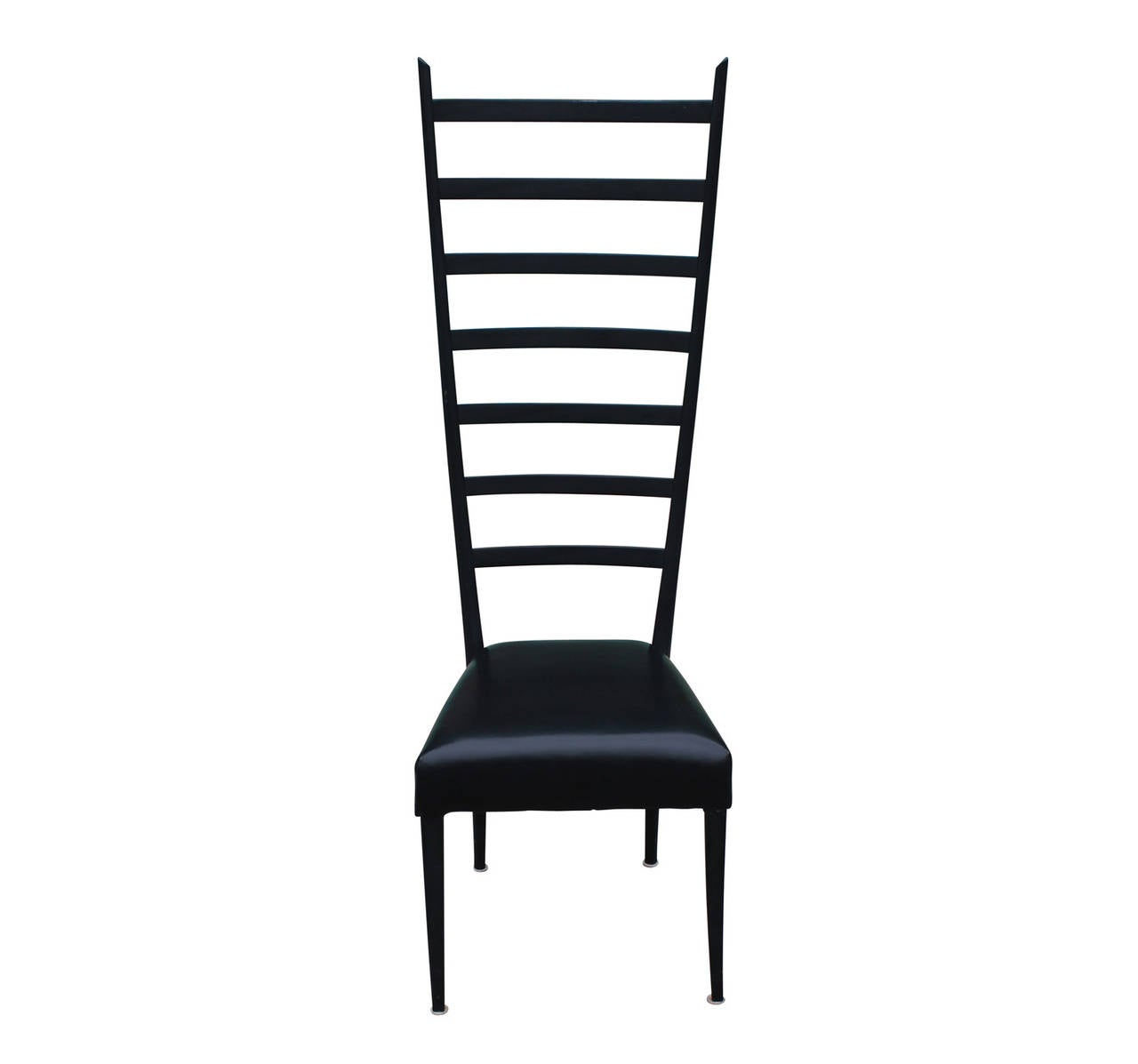 Italian Tall Ladder Back Leather Chair At 1stdibs