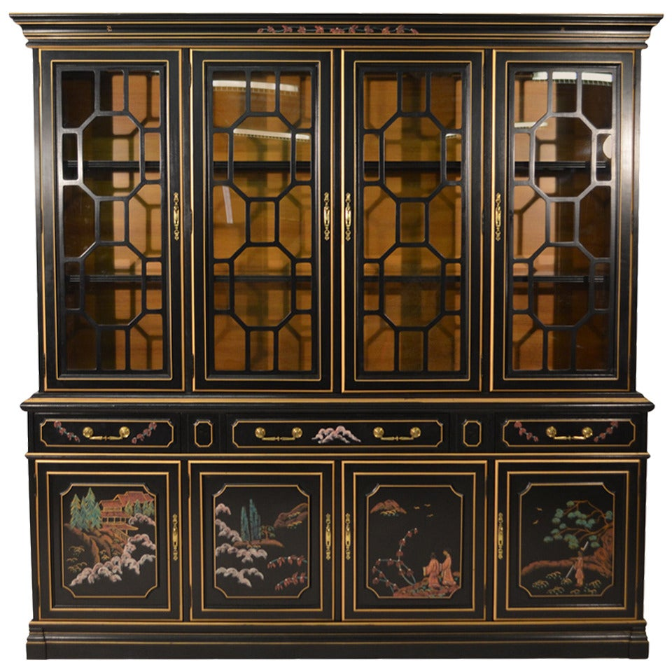 Chinoiserie Black Lacquered Breakfront Cabinet At 1stdibs