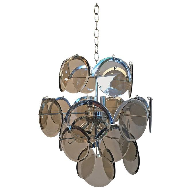 Vistosi Italian Mid Century Modern Smoked Glass Beveled Disc Chrome Chandelier For