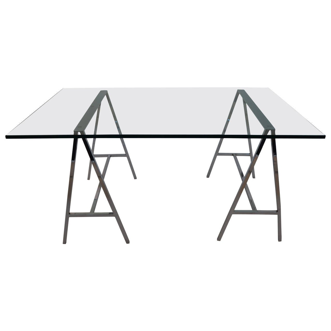 Glass Top Table Or Desk On A Pair Of Chrome Sawhorse Bases