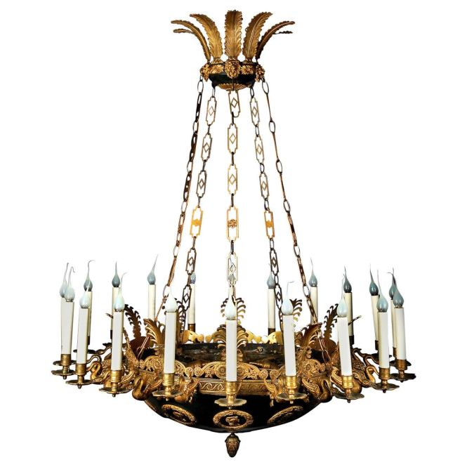 Impressive And Large Antique French Empire Gilt Patina Bronze Chandelier 1