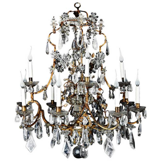 Antique French Gilt And Rock Crystal Chandelier Attributed To Maison Baguès 1