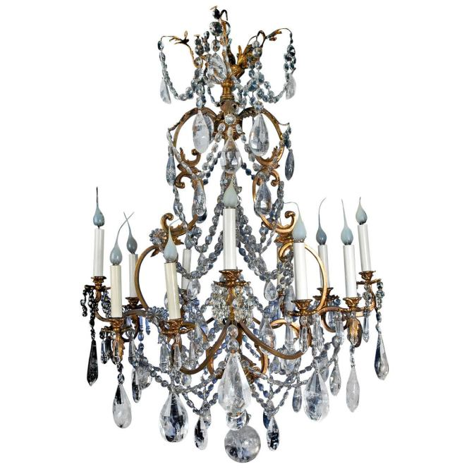 Fine Antique French Louis Xv Style Gilt Bronze And Cut Rock Crystal Chandelier 1