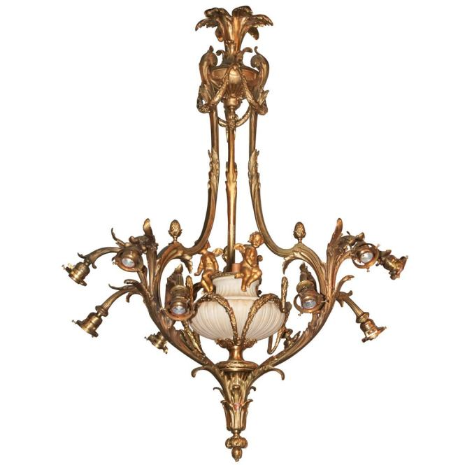 French Rococo Gilt Bronze Chandelier For