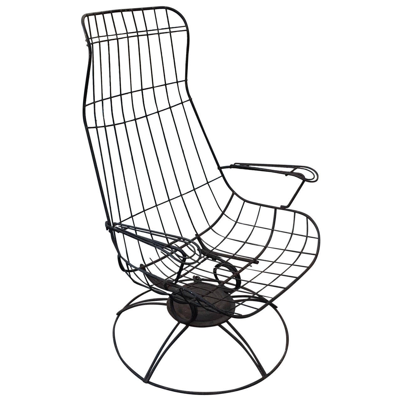 Homecrest Metal Wire High Backed Lounge Chair At 1stdibs