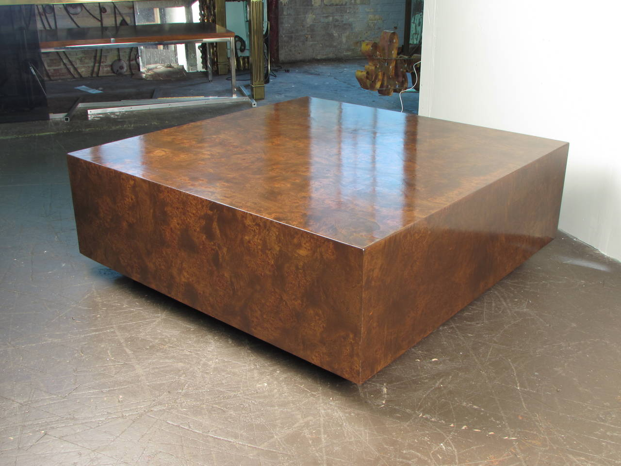 burled wood cube coffee table by milo baughman for thayer coggin 1970s