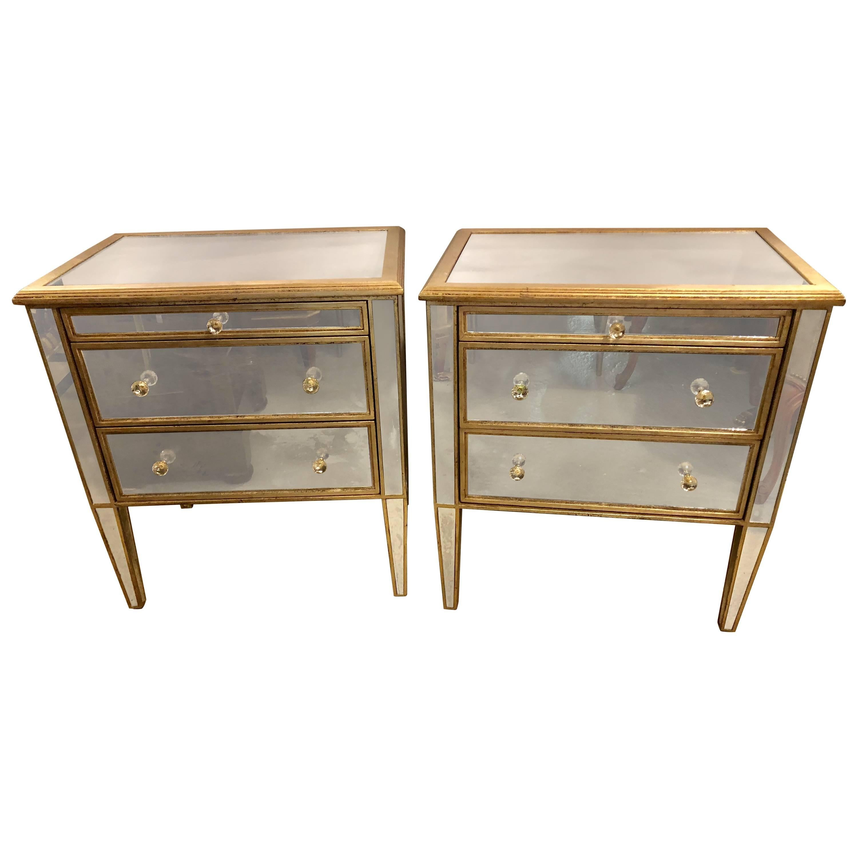 pair of large custom three drawer antique mirrored nightstands or commodes