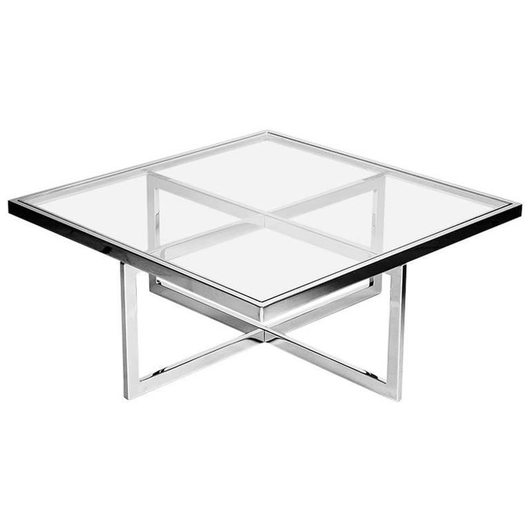 square chrome and brass coffee table italy 1970s