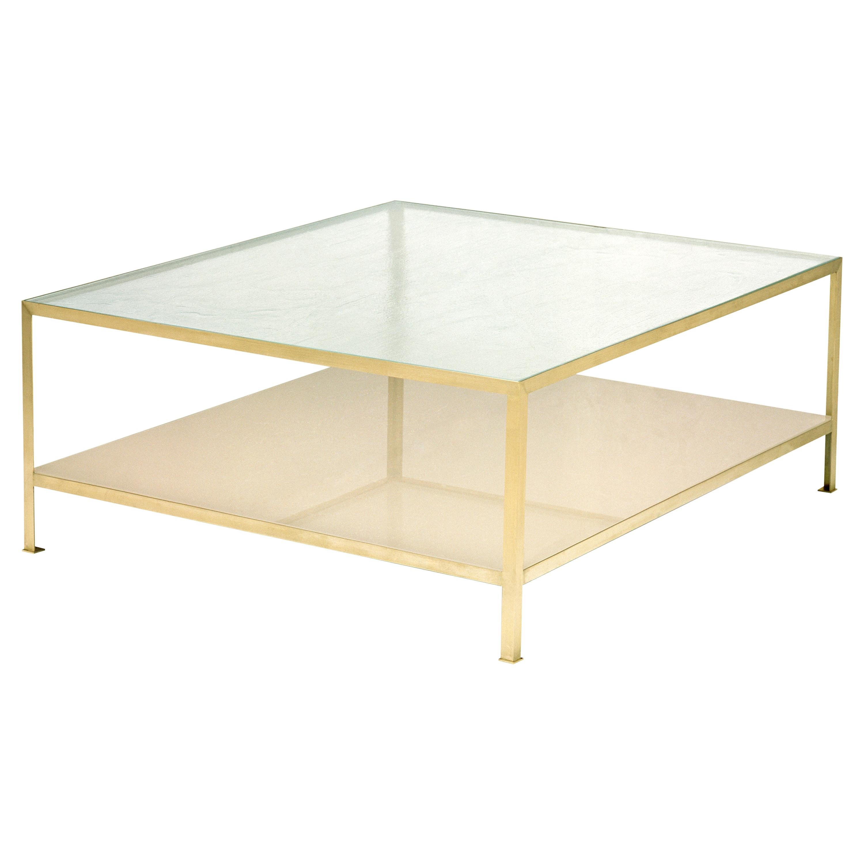 90 glass metal large square coffee table vica designed by annabelle selldorf