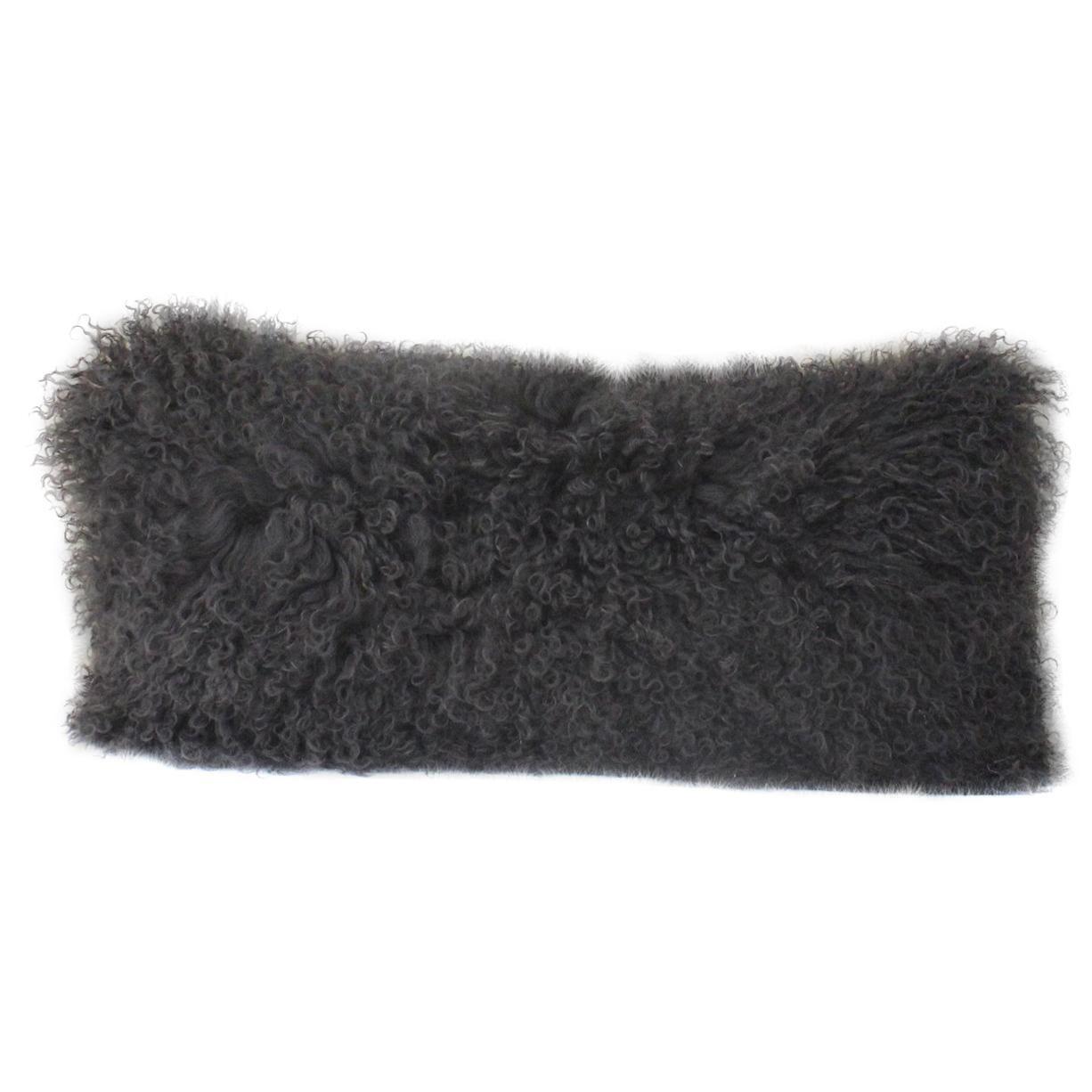 charcoal grey mongolian fur pillow lumbar sheepskin pillow