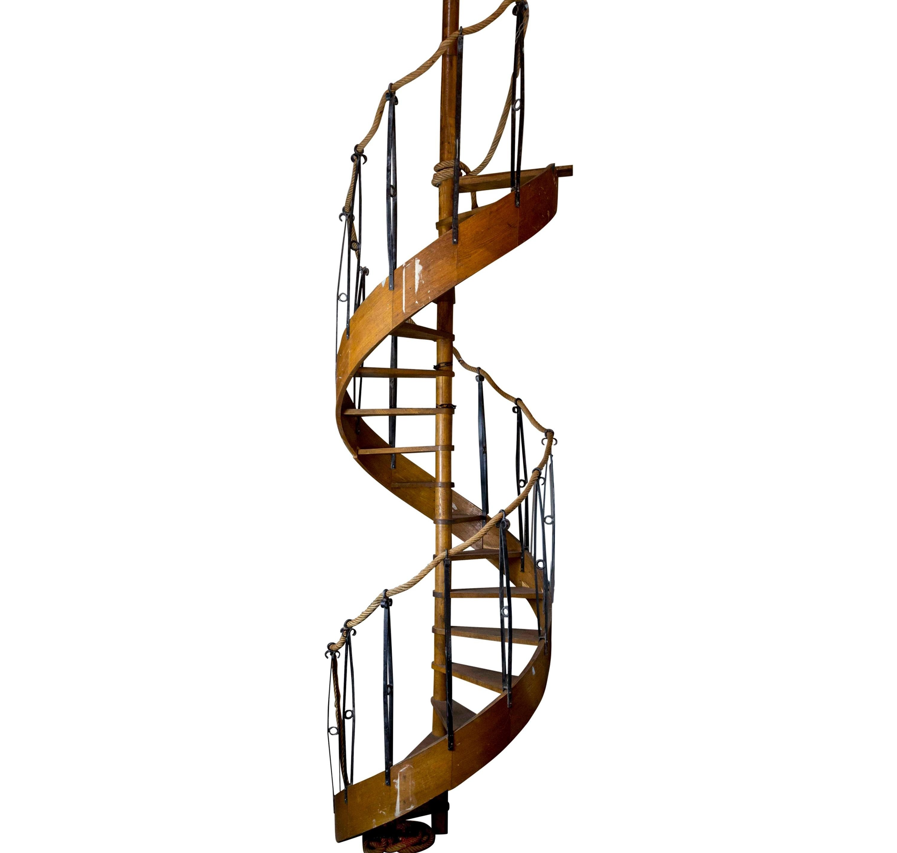 1930S Wood Spiral Staircase With Wrought Iron Balusters And Rope | Iron Balusters For Sale | Metal | Wood Iron | Indoor | Rectangular | Forged Steel
