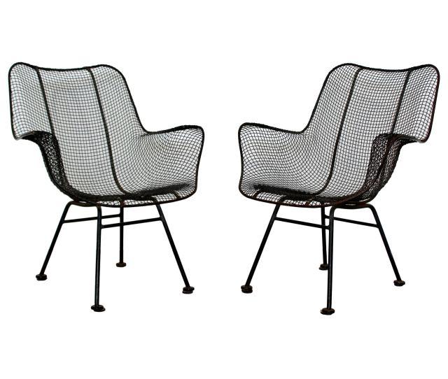 Mid Century Modern Pair Of Black Woodard Sculptura Outdoor Patio Armchairs S