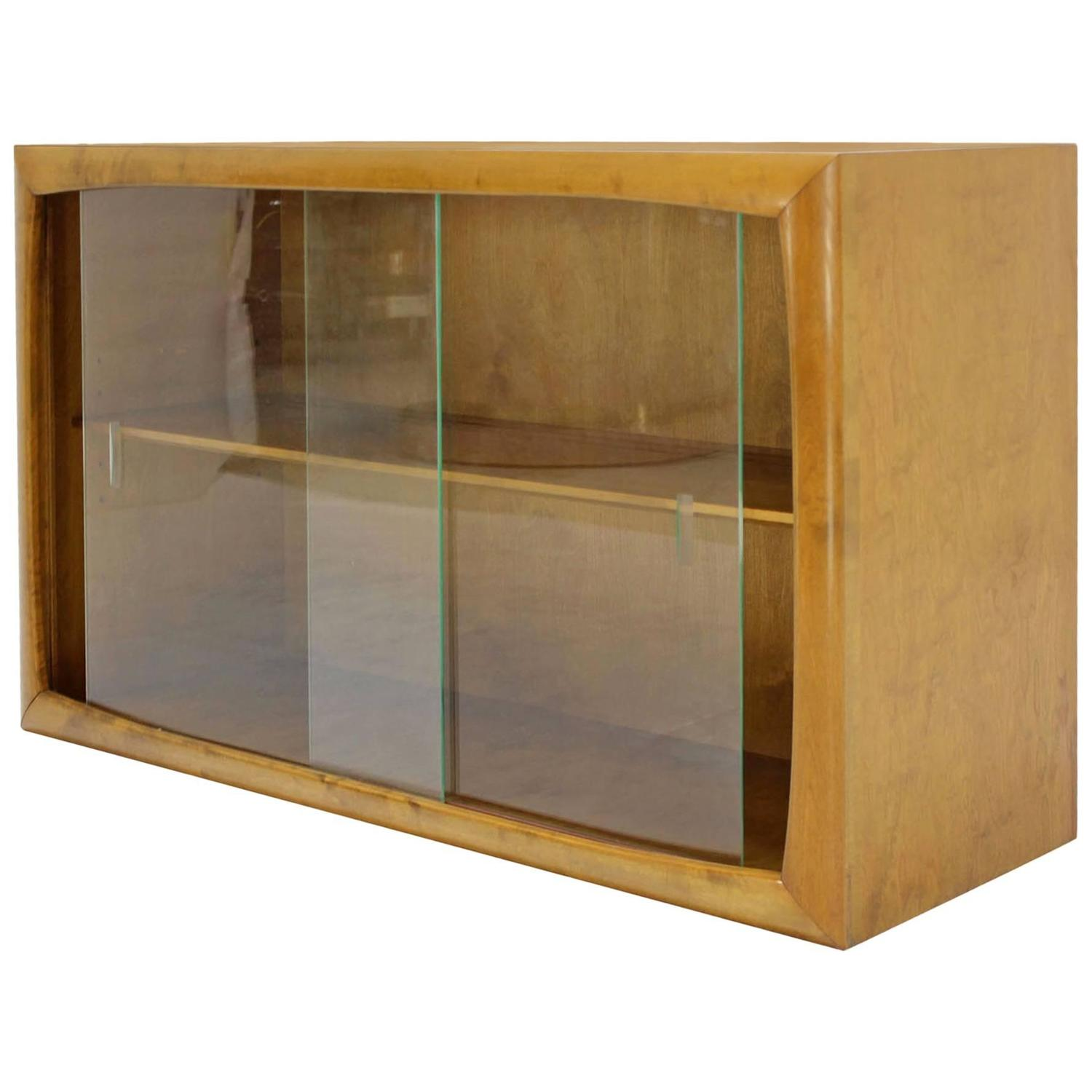Edmund Spence Blonde Wood Swedish Modern Hanging Bookcase W Glass Sliding Doors