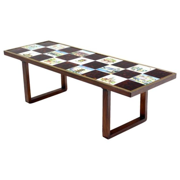 mid century modern checker style tile top coffee table in brass