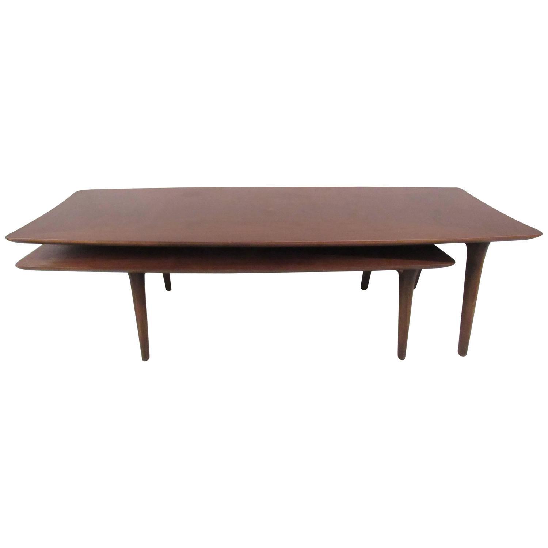 mid century two tier pivot coffee table