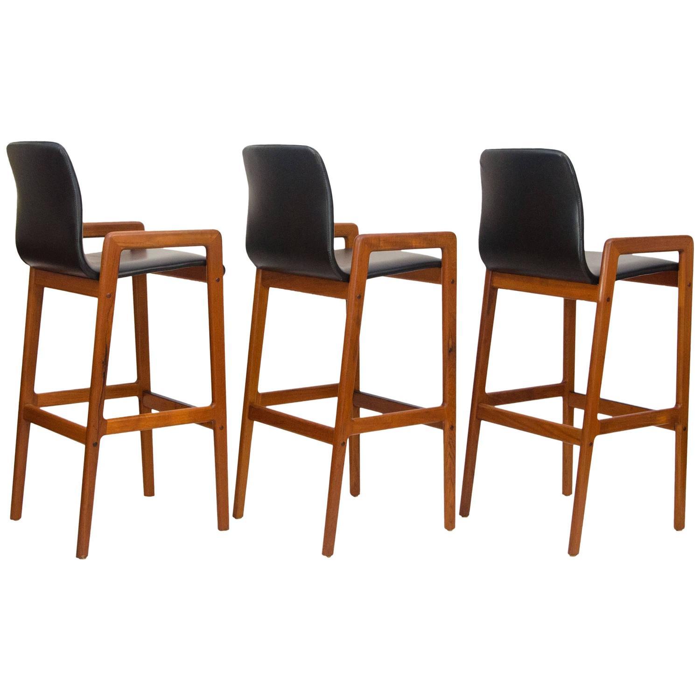 Set Of Three Danish Teak Bar Or Counter Stools At 1stdibs