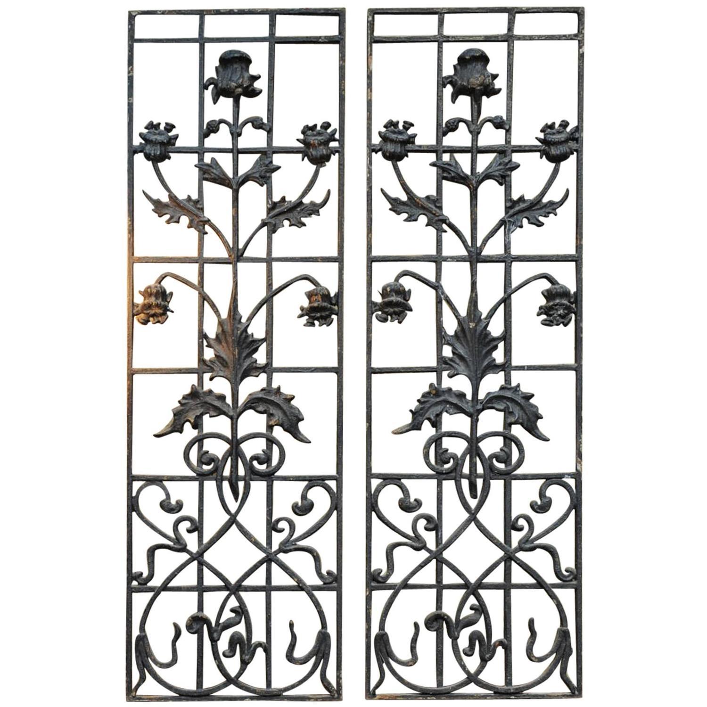 Pair Of French Art Nouveau Cast Iron Entrance Door Gates