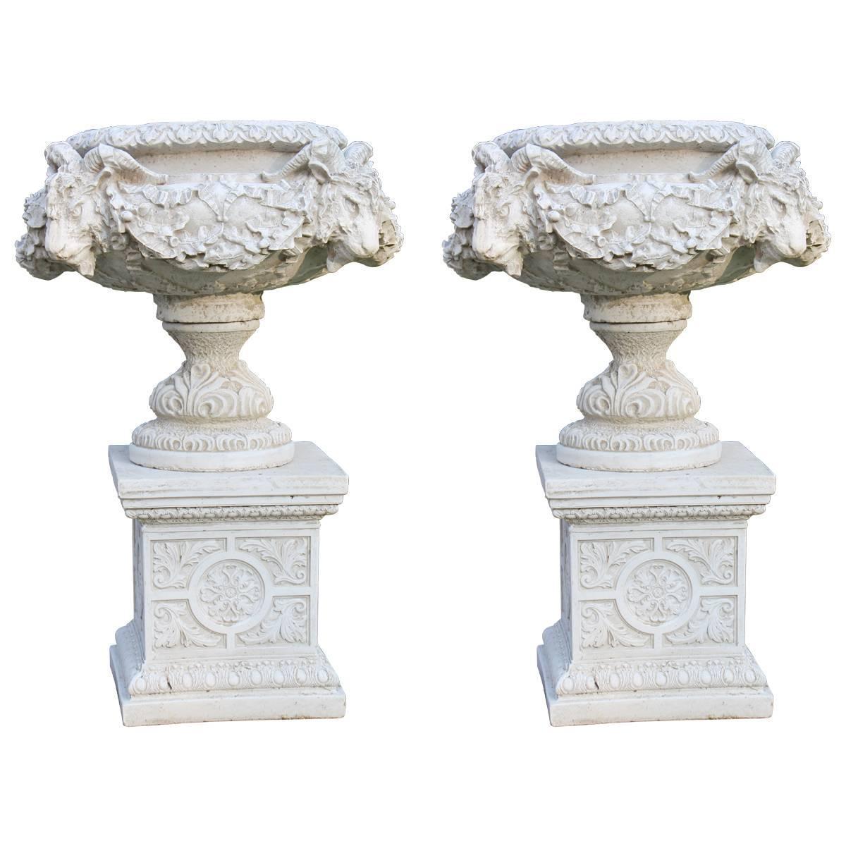 Pair Of Heavy Composite Stone Ram S Head Garden Urns On