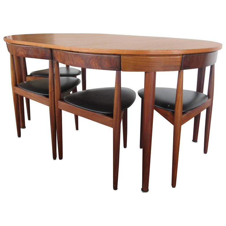 Rare Hans Olsen Teak Table With Leaf And Six Chairs That Tuck Under Table At 1stdibs