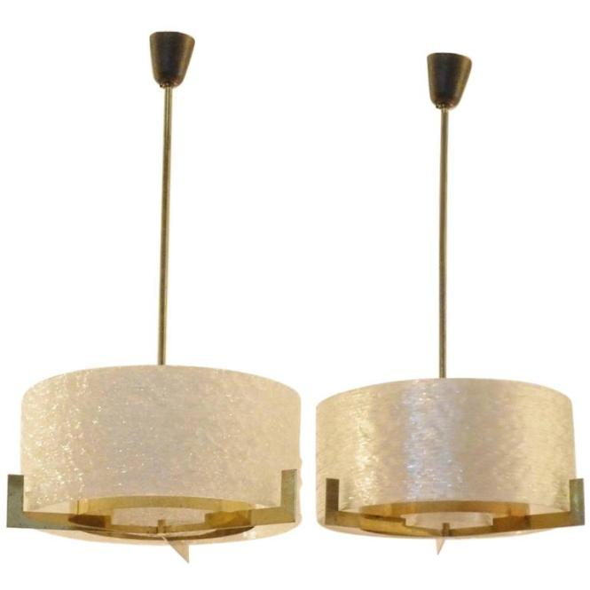 Two Mid Century Modern Design Wavy Perspex And Brass Pendant Lamps Chandeliers 1